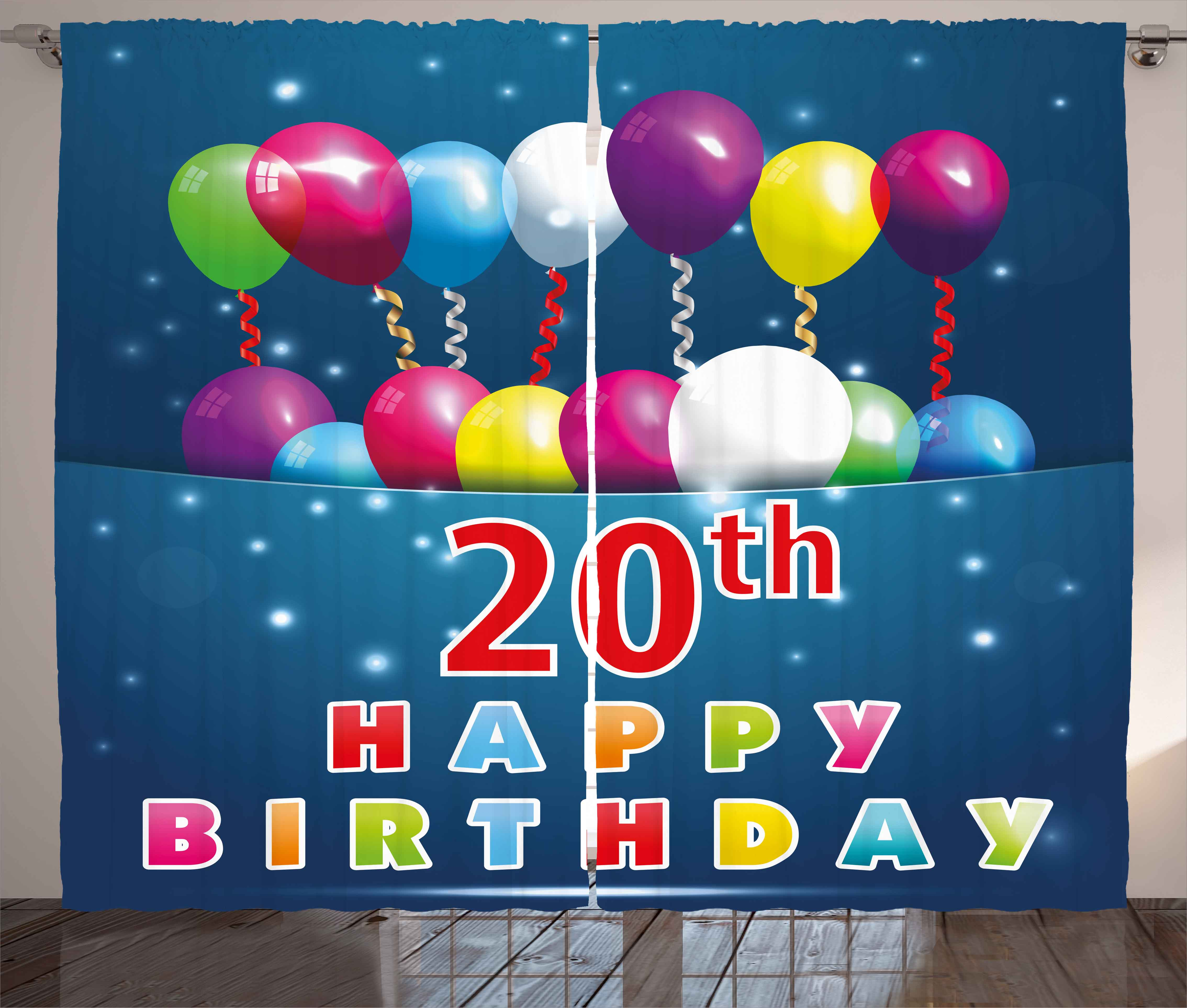 20th Birthday Decorations Curtains 2 Panels Set Sweet 20 Party With Colorful Balloons On Blue Backdrop Window Drapes For Living Room Bedroom