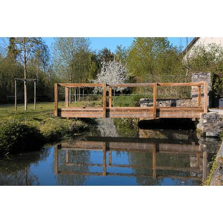 Framed Art for Your Wall Wooden Bridge River Passage Tree Wood Bridge 10x13 Frame ()