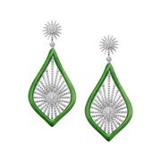 Morning Star Drop Earrings with Cubic Zirconia in Rhodium-Plated Sterling Silver