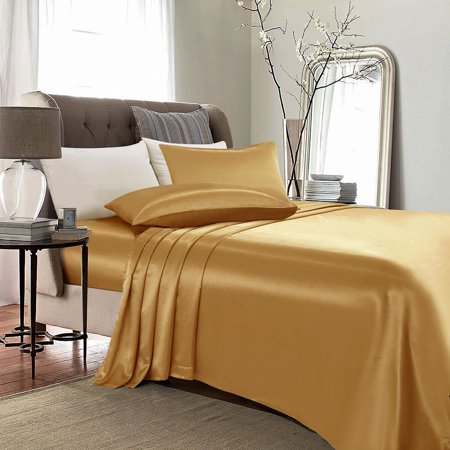 4-PC Gold Satin Silky Sheet Set Queen Size Flat Fitted Pillows (Pleated Satin Flat)