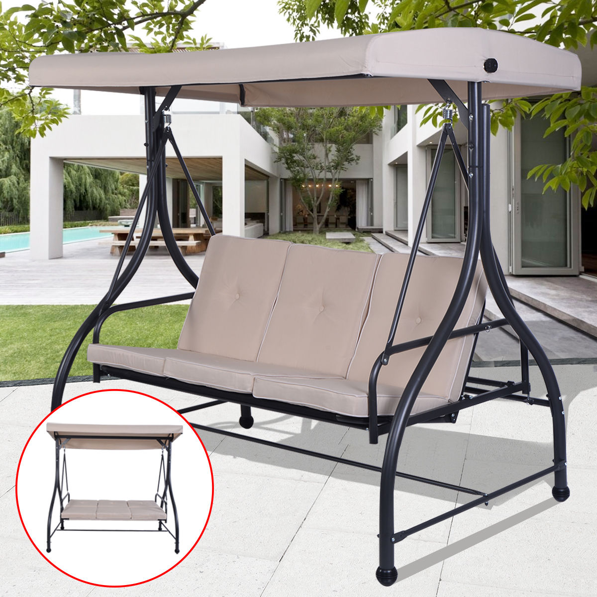 Costway Converting Outdoor Swing Canopy Hammock 3 Seats Patio Deck Furniture beige