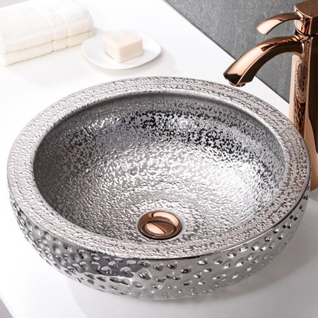 ANZZI  Regalia Series Vessel Sink in Speckled - Silver Vessel