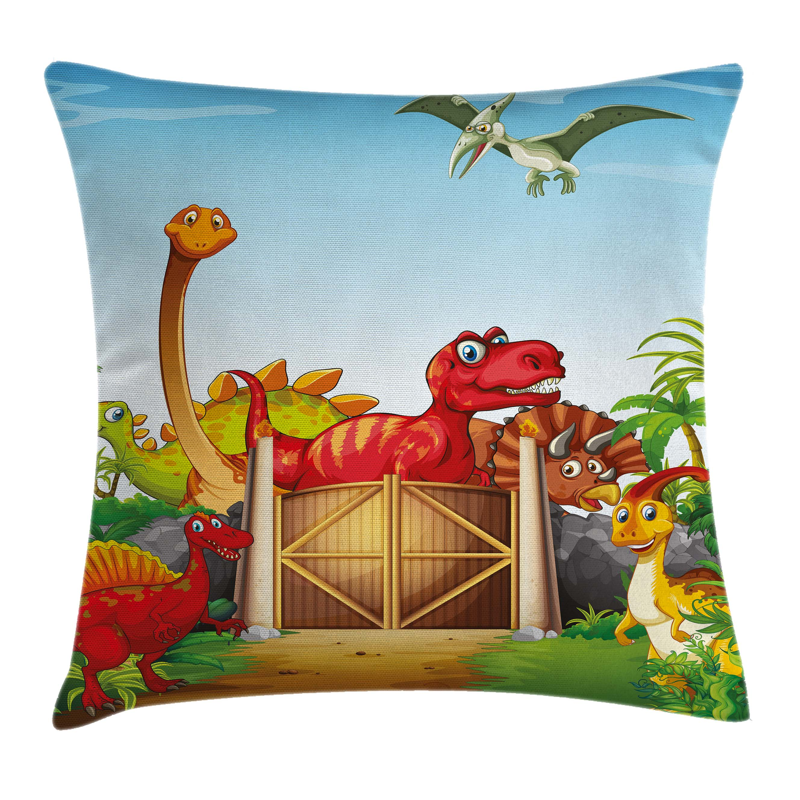 Kids Throw Pillow Cushion Cover, Cartoon Style Cute Dinosaurs in a Dino Park Jungle Trees Wildlife Habitat Illustration, Decorative Square Accent Pillow Case, 18 X 18 Inches, Multicolor, by Ambesonne
