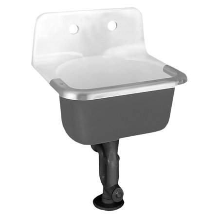 American Standard 7692.008.020 Lakewell Enameled Cast Iron Wall Mounted Service Sink with 8 CC Drilled on Back and Stainless Steel Rim Guard, White (American Standard Cast Iron Tub)