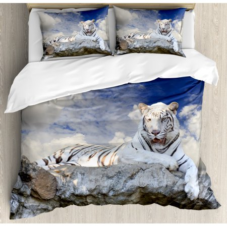 Tiger Duvet Cover Set, Bengal Hunter Surveying What is Beneath It from Top White Large Feline, Decorative Bedding Set with Pillow Shams, Eggshell Sky Blue White, by Ambesonne ()
