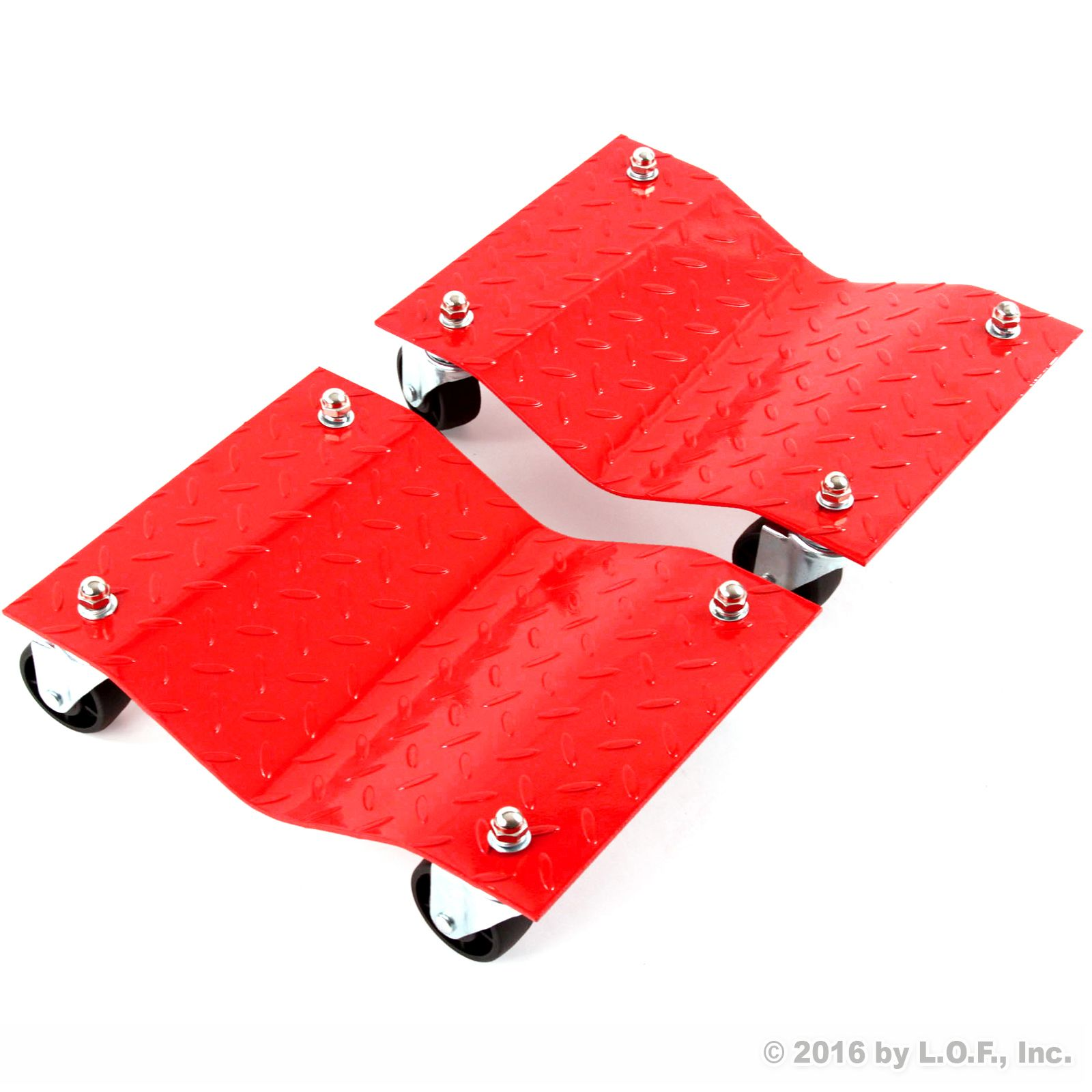 "2 - Red 12"" Tire Skates Premium Wheel Car Dolly Ball Bearings Skate Makes Moving A Car Easy"
