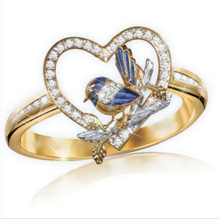 SHIYAO 1 Pcs Heart Rhinestone Rings Blue Magpie Bird Wedding Crystal Bridal Rings for Women Girl Ring Jewelry Size 6-10 Crystal Rhinestone Bridal Rings