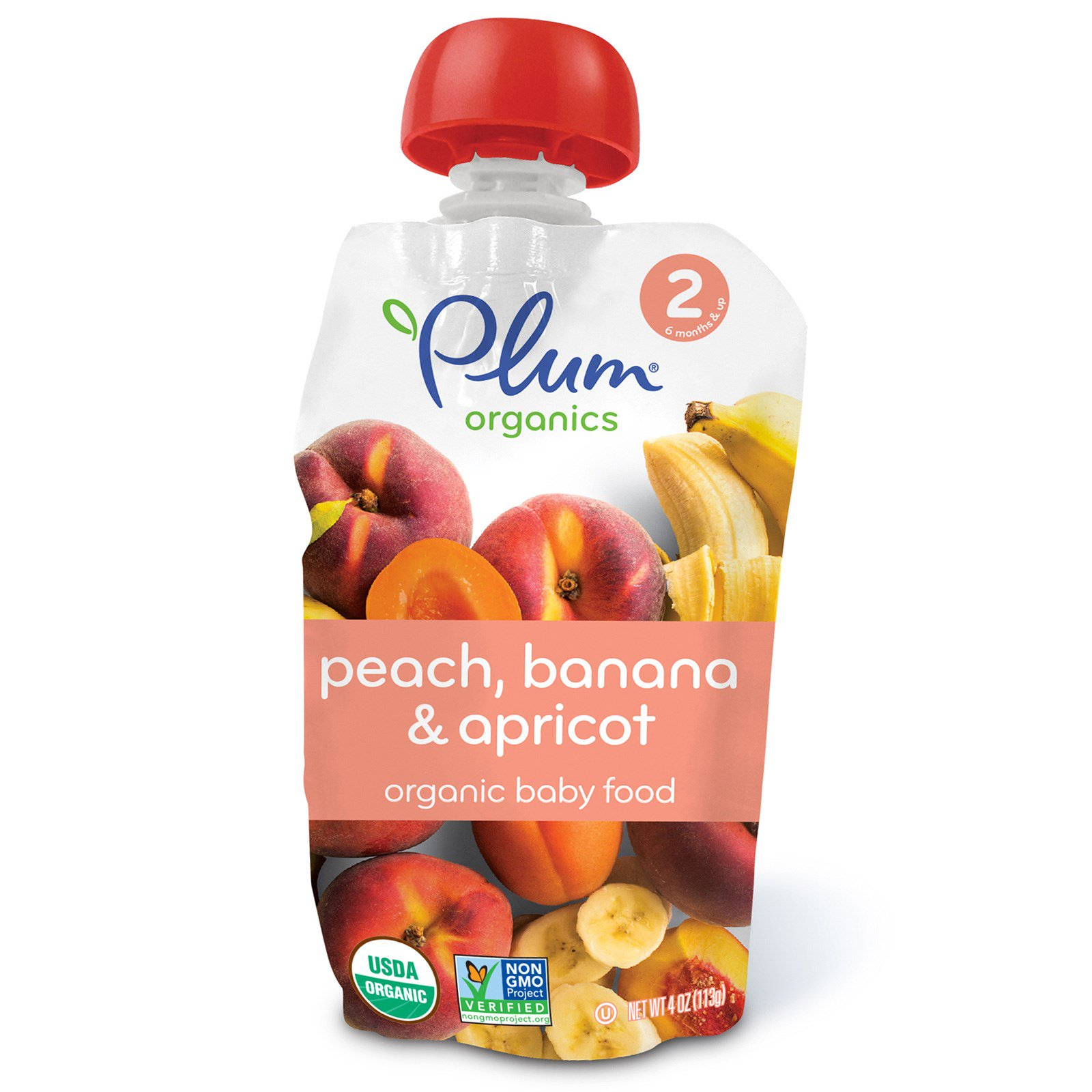 Plum Organics, Organic Baby Food, Stage 2, Peach, Banana & Apricot, 4 oz (pack of 3)