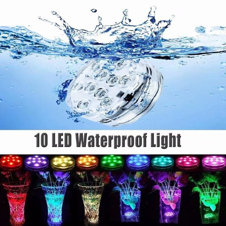 VicTsing 10 LED Submersible Swimming Pool  Fish Tank Lights 16 Colors Waterproof With IR Remote Control for Aquarium, Vase Base, Pond, Garden, Party, Christmas, Halloween  (1 pcs)](Synchronized Lights Halloween)