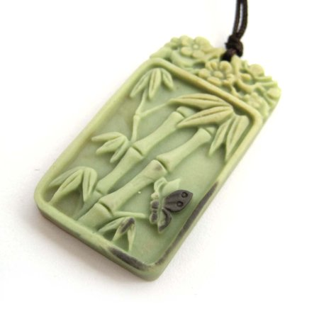 Two Layer Natural Stone Carved Lucky Bamboo Butterfly Flower Pendant 41mm*23mm