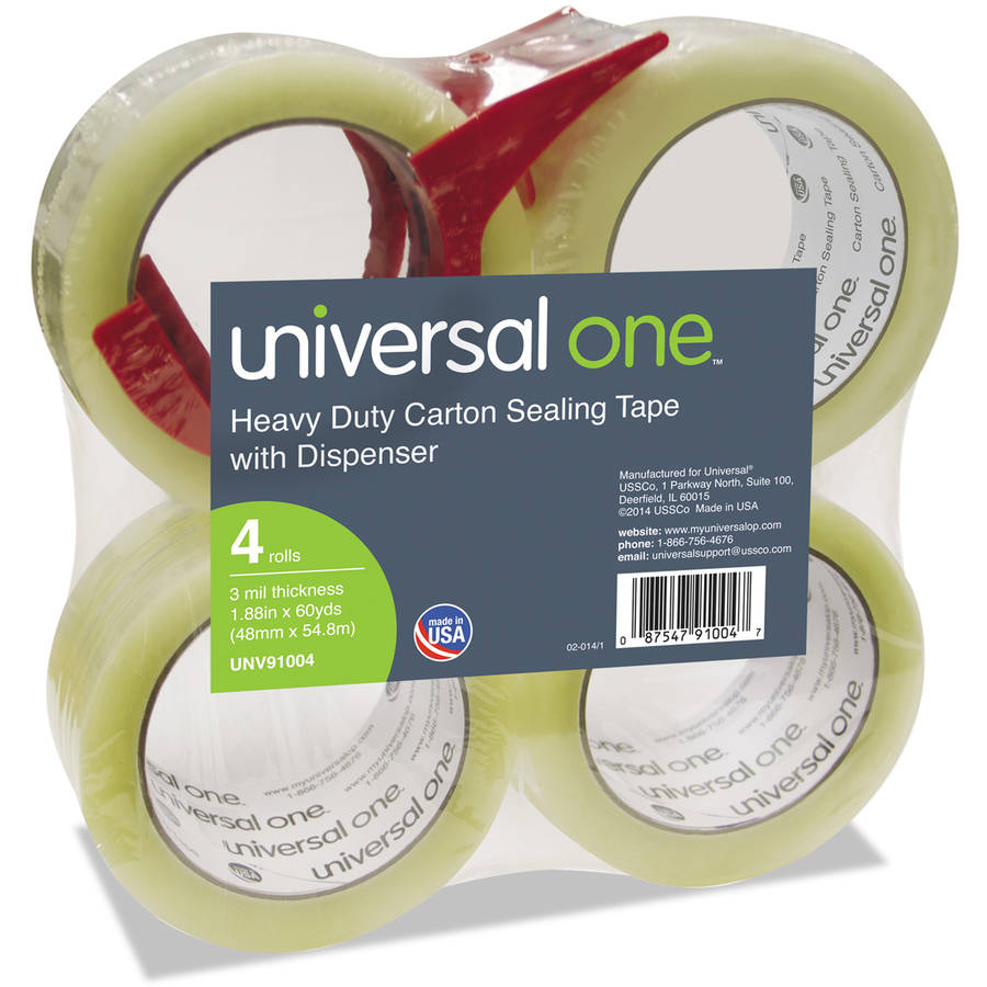 """Universal One Heavy-Duty Box Sealing Tape with Dispenser, 48mm x 54.8m, 3"""" Core, Clear, 4pk"""