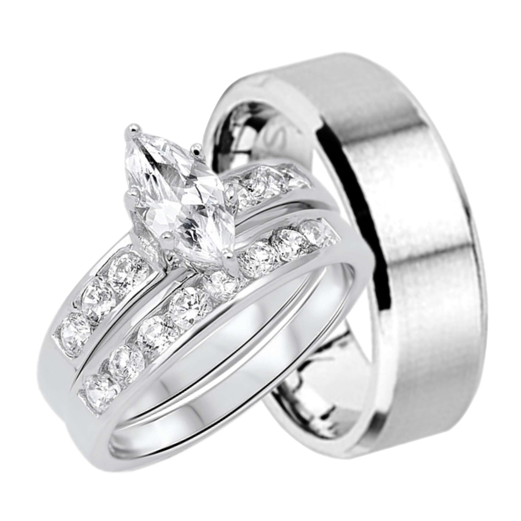 His And Hers Marquise Wedding Ring Set Matching Bands For Him And Her (9/