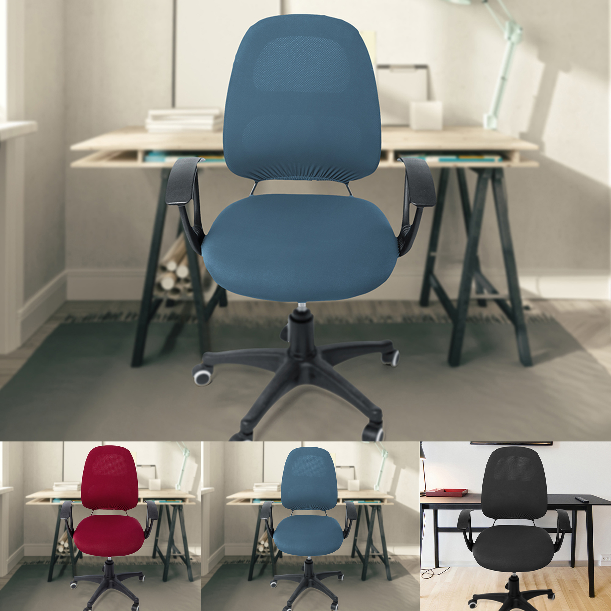 Computer Office Chair Cover Universal Chair Seat Covers Stretch Rotating Chair Slipcovers Washable Spandex Desk Chair Cover Protectors Walmart Com Walmart Com
