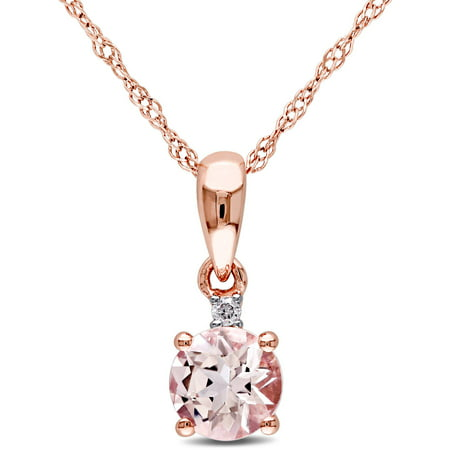 1/2 Carat T.G.W. Morganite and Diamond-Accent 10kt Rose Gold Solitaire Drop Pendant, 17 ()