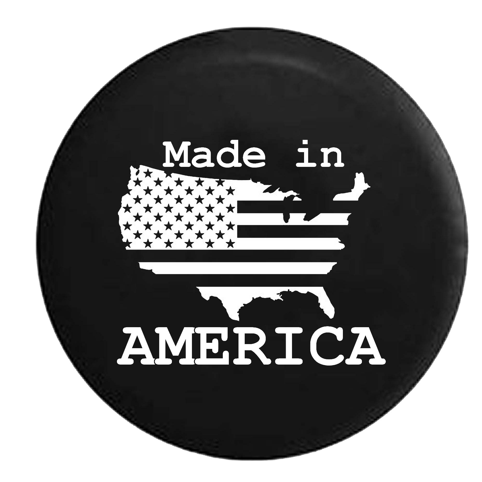US United States Flag Made In America Trailer RV Spare Tire Cover Vinyl Black 27.5 in