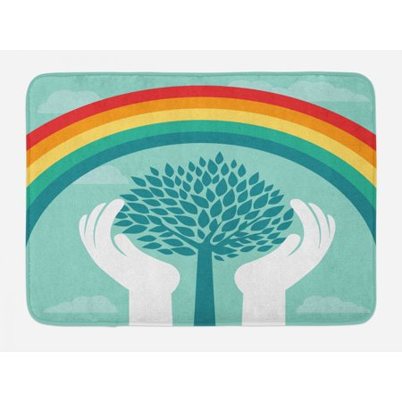 Vintage Rainbow Bath Mat, Tree Silhouette Between Human Hands Protecting Nature Theme Growth Ecology, Non-Slip Plush Mat Bathroom Kitchen Laundry Room Decor, 29.5 X 17.5 Inches, Multicolor, Ambesonne