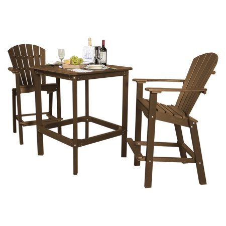Little Cottage Classic Recycled Plastic 3 Piece Square Bar Height Patio Dining Set ()