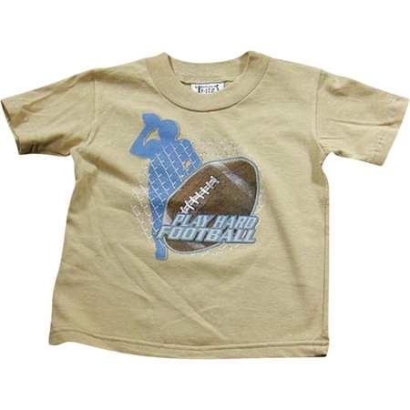 Mis Tee V-Us - Big Boys Short Sleeve Fun Graphic T - Shirt Tops for Casual Everyday Beige Football / 12/14