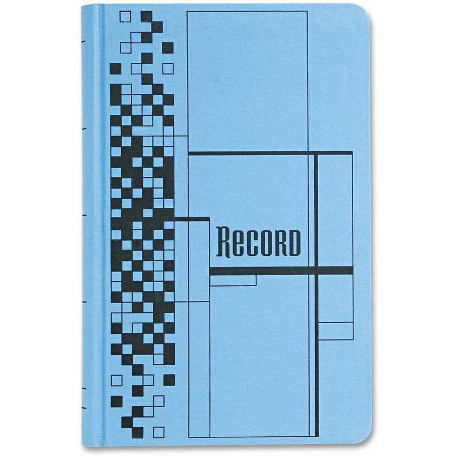 "Adams Business Forms Record Ledger Book, Blue Cloth Cover, 500 7-1/2"" x 12 Pages"
