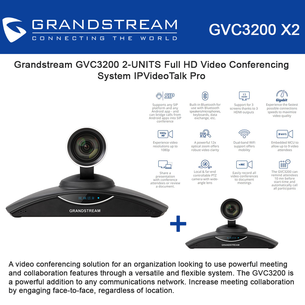 Grandstream GVC3200 2-KIT Full HD Video Conferencing System IPVideoTalk Pro
