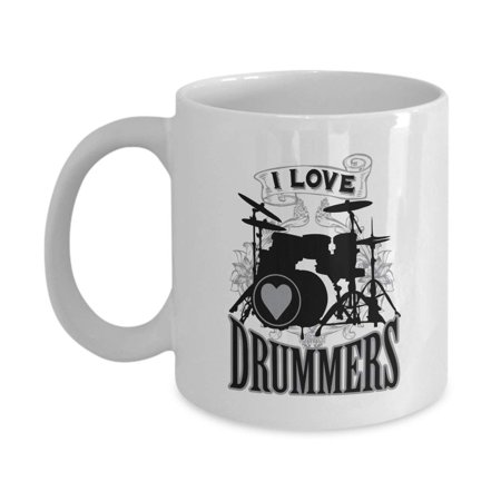 I Love Drummers Drum Set Silhouette Art Coffee & Tea Gift Mug, Kitchen Stuff, Decorations, Merchandise & Accessories For A Band Drummer Fan, Rock Or Heavy Metal Music Lovers, Groupie (Band Drummer Rock)