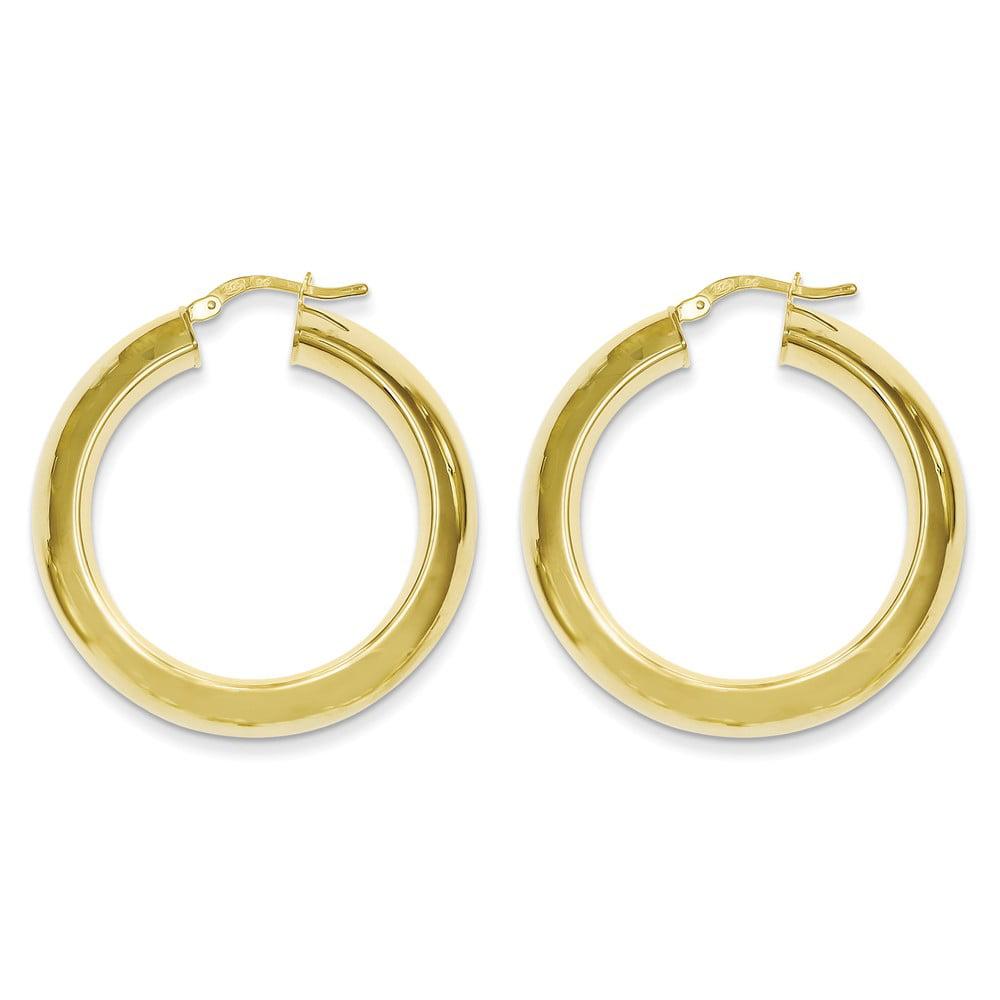 Sterling Silver Gold-plated Tube 1.2IN Hoop Earrings (1.4IN x 1.3IN )