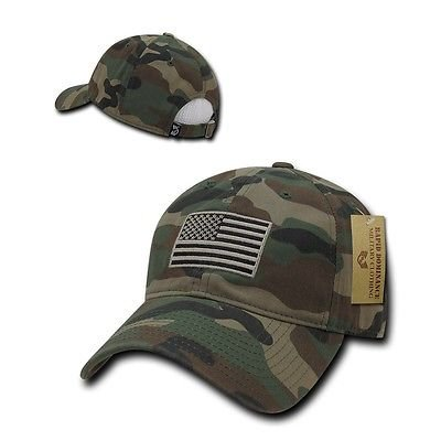 Camo USA US American Flag Patch United States America Polo Baseball Hat Cap