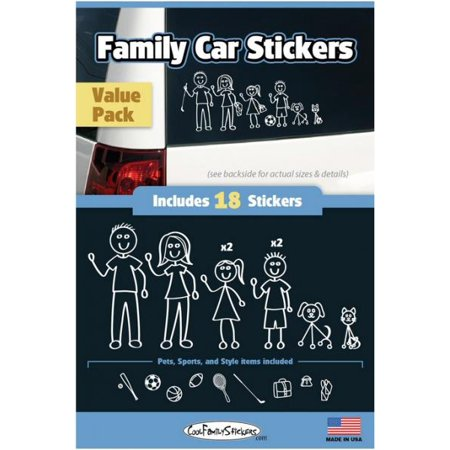 Cool Family Car Stickers - Compact Value Pack - contains 18