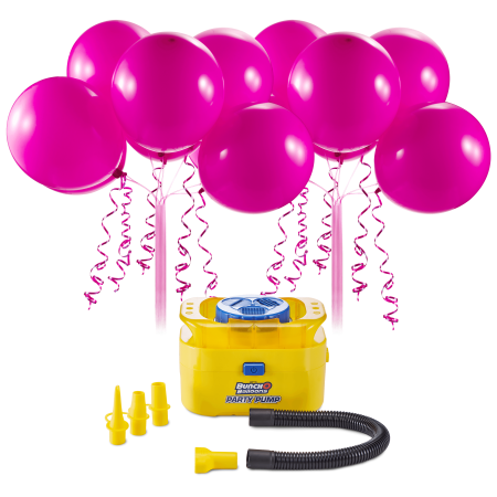 Bunch O Balloons Portable Party Balloon Electric Air Pump Starter Pack, Includes 16ct 11in Self-Sealing Pink Latex (Best Counts With Balloon Pumps)