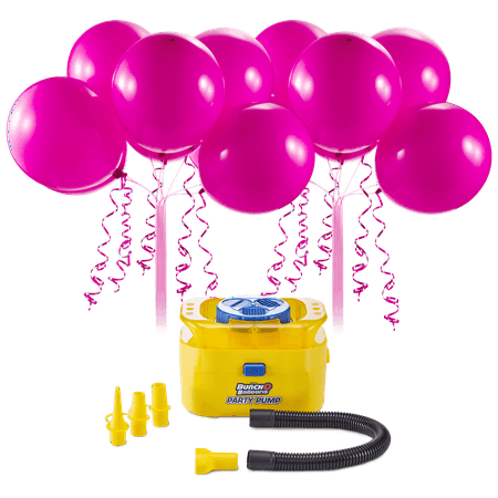 Bunch O Balloons Portable Party Balloon Electric Air Pump Starter Pack, Includes 16ct 11in Self-Sealing Pink Latex Balloons](Party Balloon Pump)