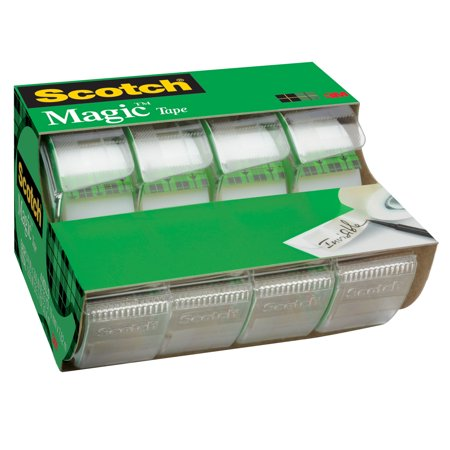 Scotch Magic Tape Dispenser 4 Pack, 3/4in. x 300in. per Dispenser, Clear ()