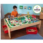 KidKraft Wooden Train Table and 120-Piece Waterfall Mountain Train Set with 3 Bins