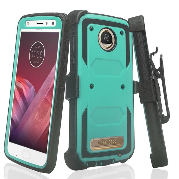 Moto Z2 Play Case, Moto Z2 Force Case, Heavy Duty Swivel Locking Belt Clip Holster, [Built In Screen Protector] Full Body Coverage Rugged Protection For Moto Z2 Play / Moto Z2 Force - Teal - image 4 de 4