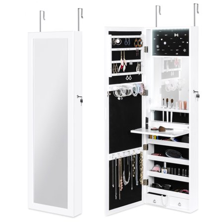 Best Choice Products Full Length Hanging Mirror Jewelry Armoire Cabinet, Makeup Storage Organizer for Door or Wall Mount w/ Interior Mirror, LED Lights, Lock, Cosmetics Tray, Brush Holders, 4
