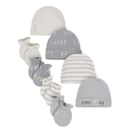 Gerber Organic Cotton Caps and Mittens Accessories Baby Shower Gift Set, 4pc (Baby Boy or Baby Girl,