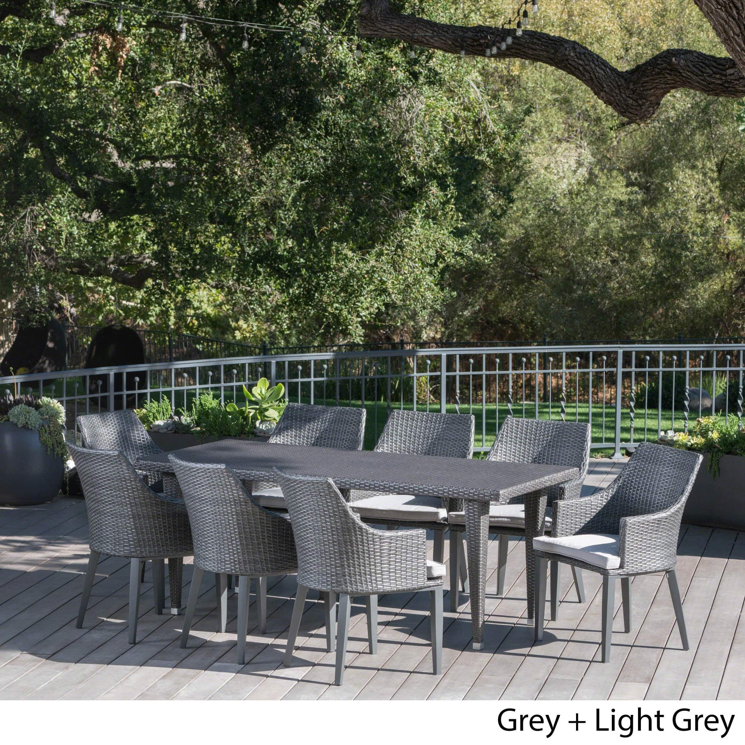 Christopher Knight Home Lenox Outdoor 9 Piece Rectangular Wicker Dining Set  With Cushions By