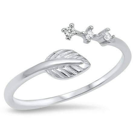 Cubic Zirconia Leaf Design Adjustable Ring Sterling Silver Leaf Design Ring
