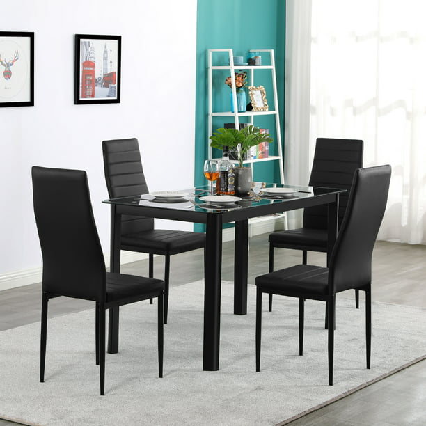 5 Piece Dining Room Table Set For 4 Person Urhomepro Elegant Dining Table Set Tempered Glass