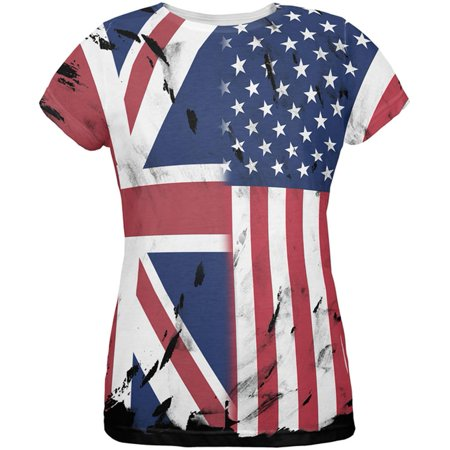 British UK American USA Flag All Over Womens T Shirt