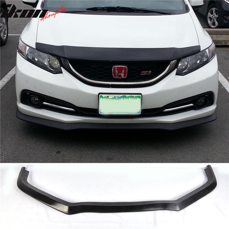 Fits 13-15 Honda Civic CS Style Front Bumper Lip Unpainted - PU (Poly Urethane)