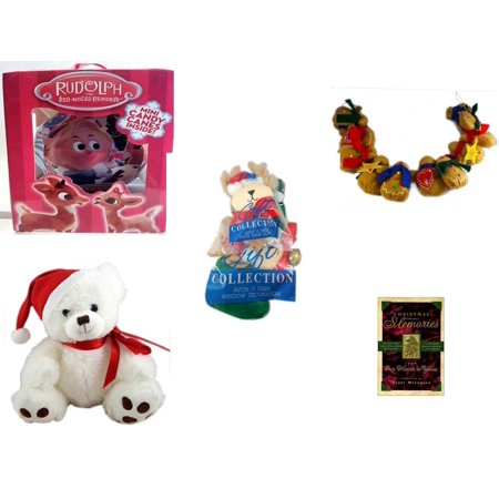 Christmas Fun Gift Bundle [5 Piece] - Rudolph Red-nosed Reindeer Fillable Xmas Ornament - String of Gingerbread  w/ Wood Stars & Hearts 4.5