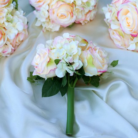 BalsaCircle 4 Silk Roses and Hydrangea Bouquets - DIY Home Wedding Party Artificial Silk Flowers Arrangements Centerpieces