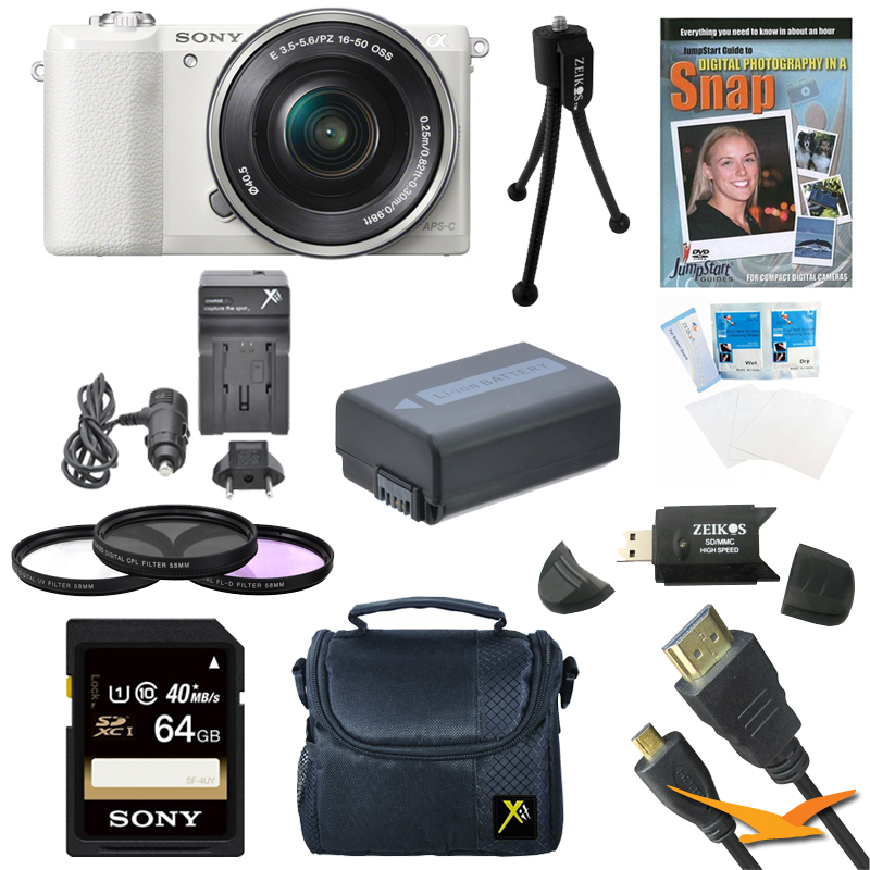 Sony a5100 ILCE-5100L/W 16-50mm Interchangeable Lens Camera with 3-Inch Flip Up LCD (White) Bundle with Sony 64GB Class 10 SD card, Spare Battery, Rapid AC/DC Charger