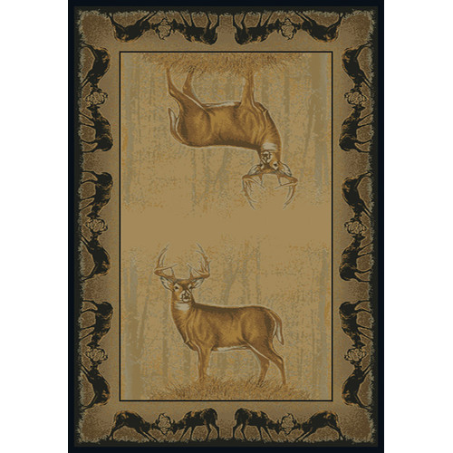 Buckwear Buckwear Believe Deer Lodge Beige Novelty Rug