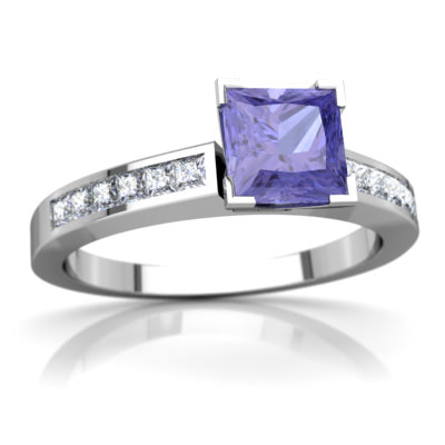 Tanzanite Channel Set Ring in 14K White Gold by