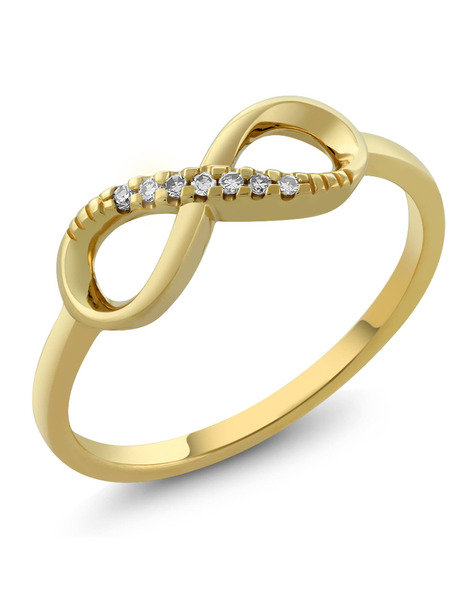 10K Solid Yellow Gold Diamond Engagement Infinity Ring For Women