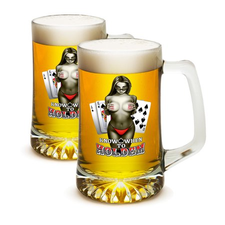 SET OF 2 Poker Texas Hold 'Em Know When To Hold Em 25 Ounce Tankard Beer Mugs by