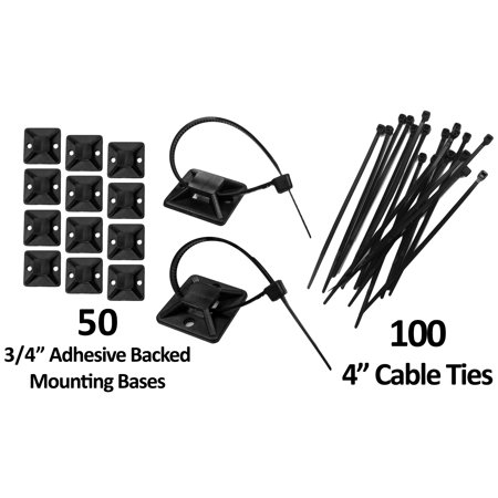 Self-Adhesive Backed Mounting Bases  KIT - 50 Pack with cable Ties - Black / White - Electriduct 50 Pack Self Adhesive