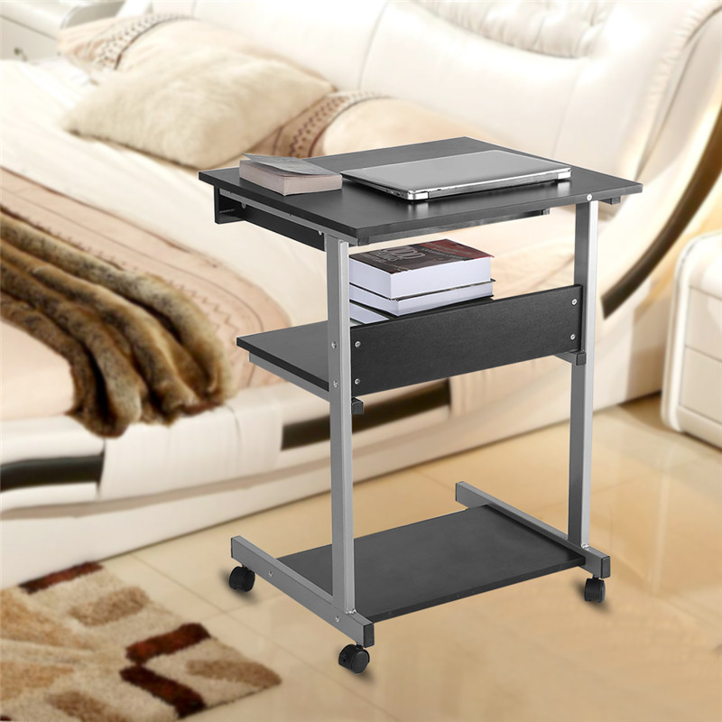 Portable Modern Mobile Computer Table with 4 wheels Wooden Rolling Mobile Standing Computer Laptop for Home Office Workstation Desk