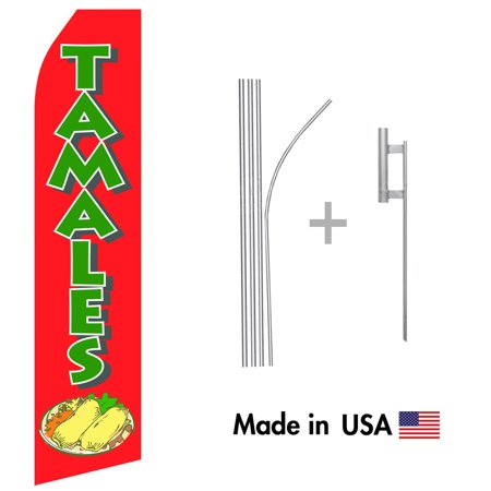 Tamales Econo Flag | 16ft Aluminum Advertising Swooper Flag Kit with Hardware